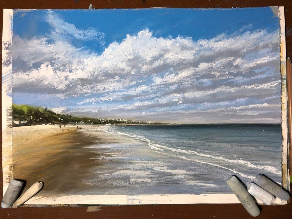 Nina's Bournemouth beach painting.