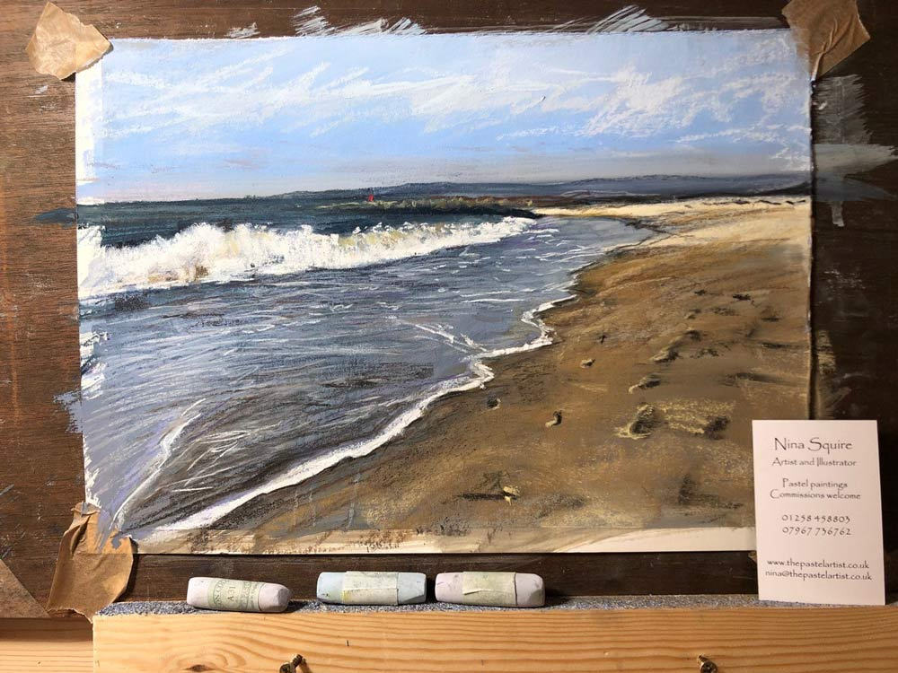 Nina's Studland Beach pastel painting.